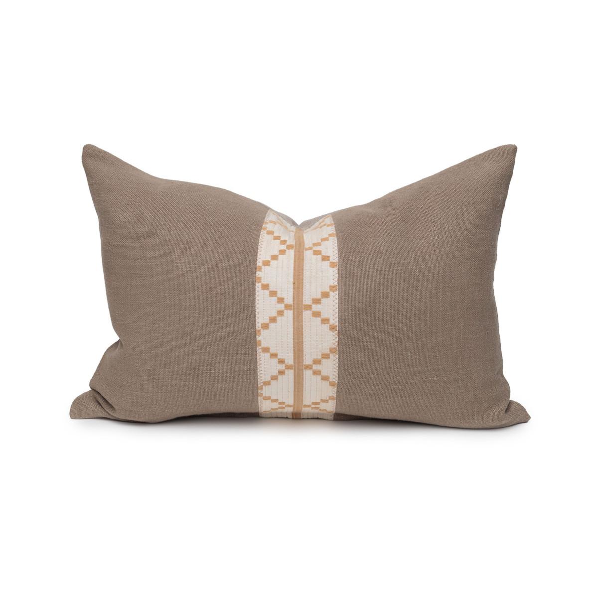 Naldo Lumbar Aso Oke Vintage Textile Pillow - 1420 - Front View