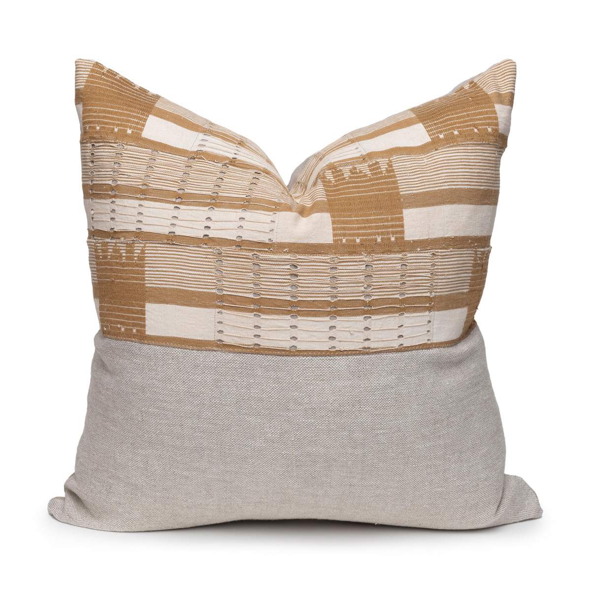 Olive Natural Linen and Aso Oke Pillow - 22- Front View