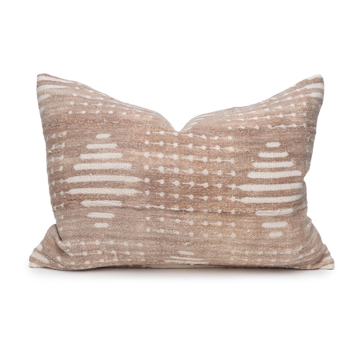 Ridge Lumbar Mud Cloth Pillow in Taupe - 1622 -  Front View