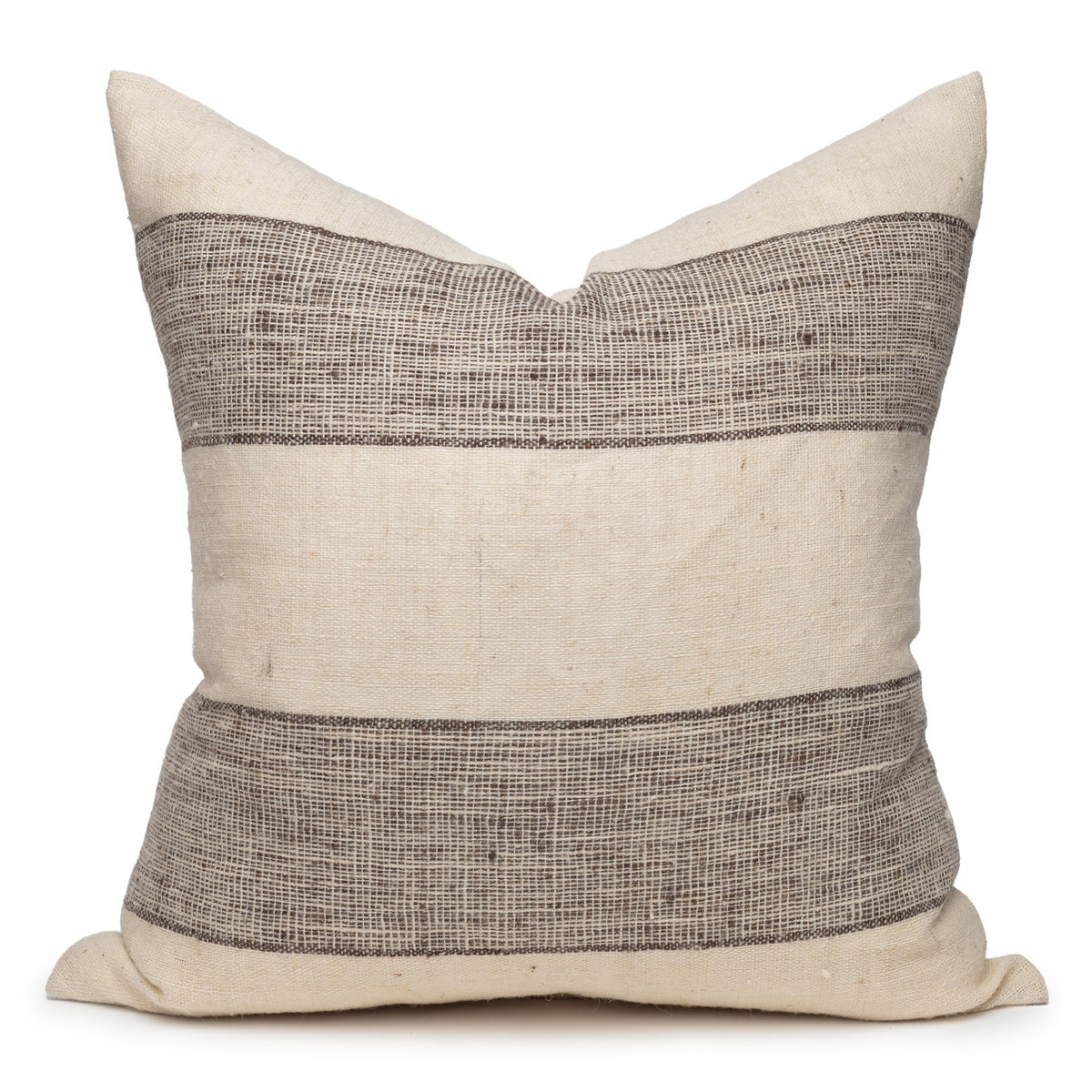 Rhea Indian Wool Ivory and Espresso Stripe Pillow - 24- Front View