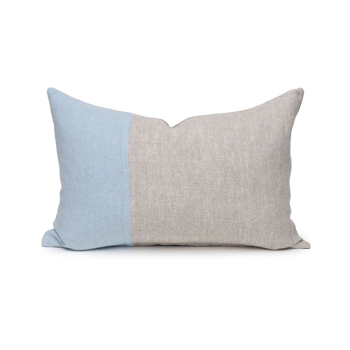 Dime French Blue and Natural Linen Lumbar Pillow - 14 x 20  - Front View