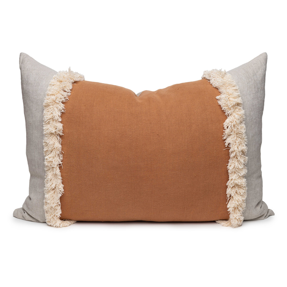 Muse Linen Lumbar Fringe Pillow in Sunstone- 2636- Front View