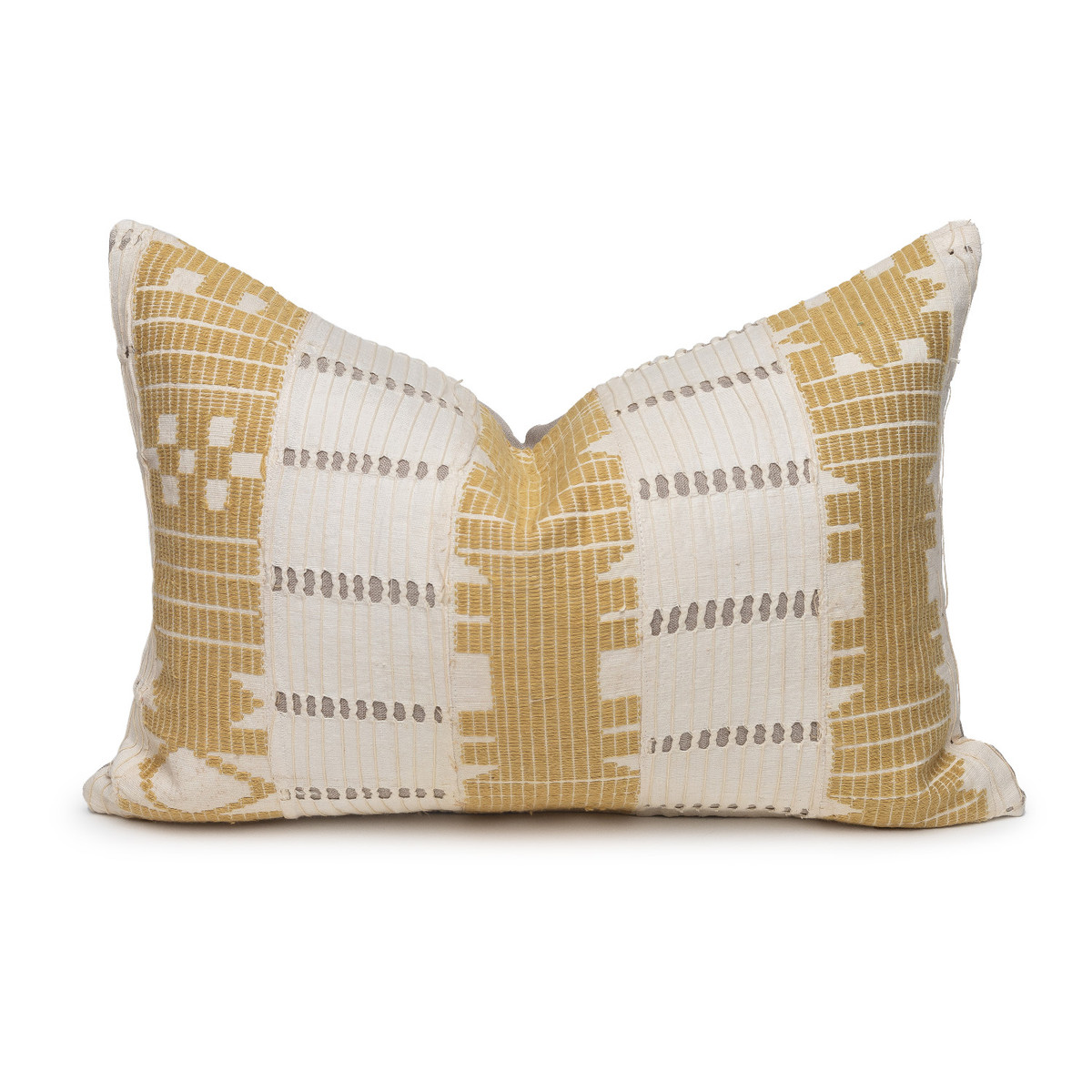 Alaia Lumbar Luxe Vintage Pillow with African Aso Oke Textiles- 1420- Front View
