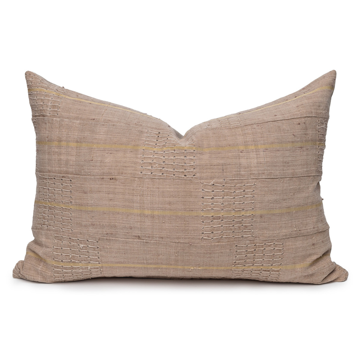 Remi Lumbar Luxe Vintage Pillow with African Aso Oke Textiles- 1622- Front View
