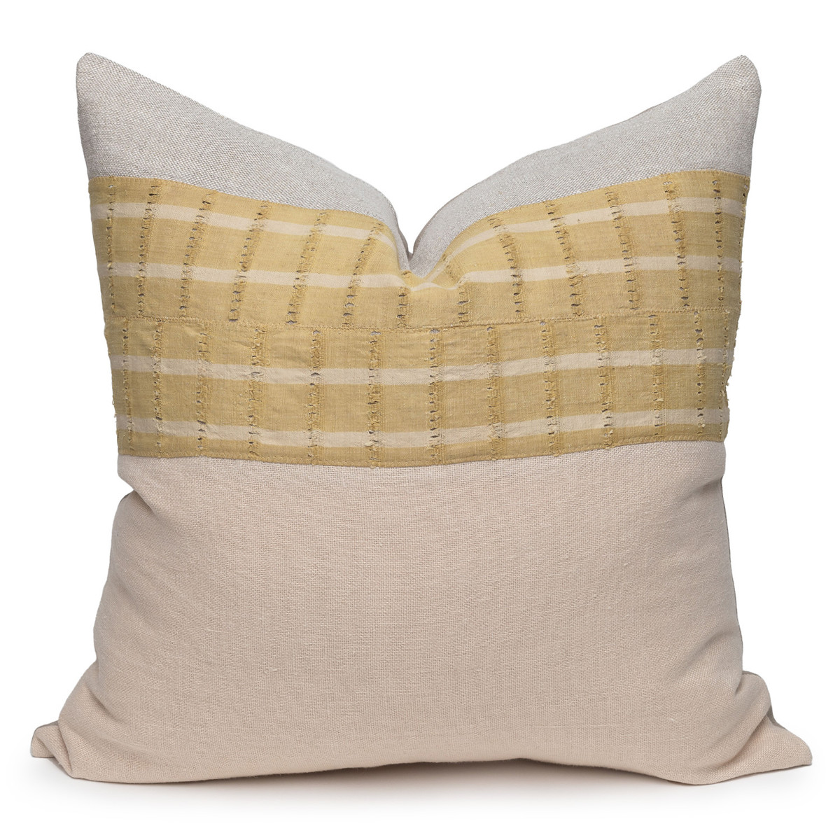 Aria Luxe Vintage Pillow with African Aso Oke Textiles and Linen in Natural & Creme Brulee-22- Front View