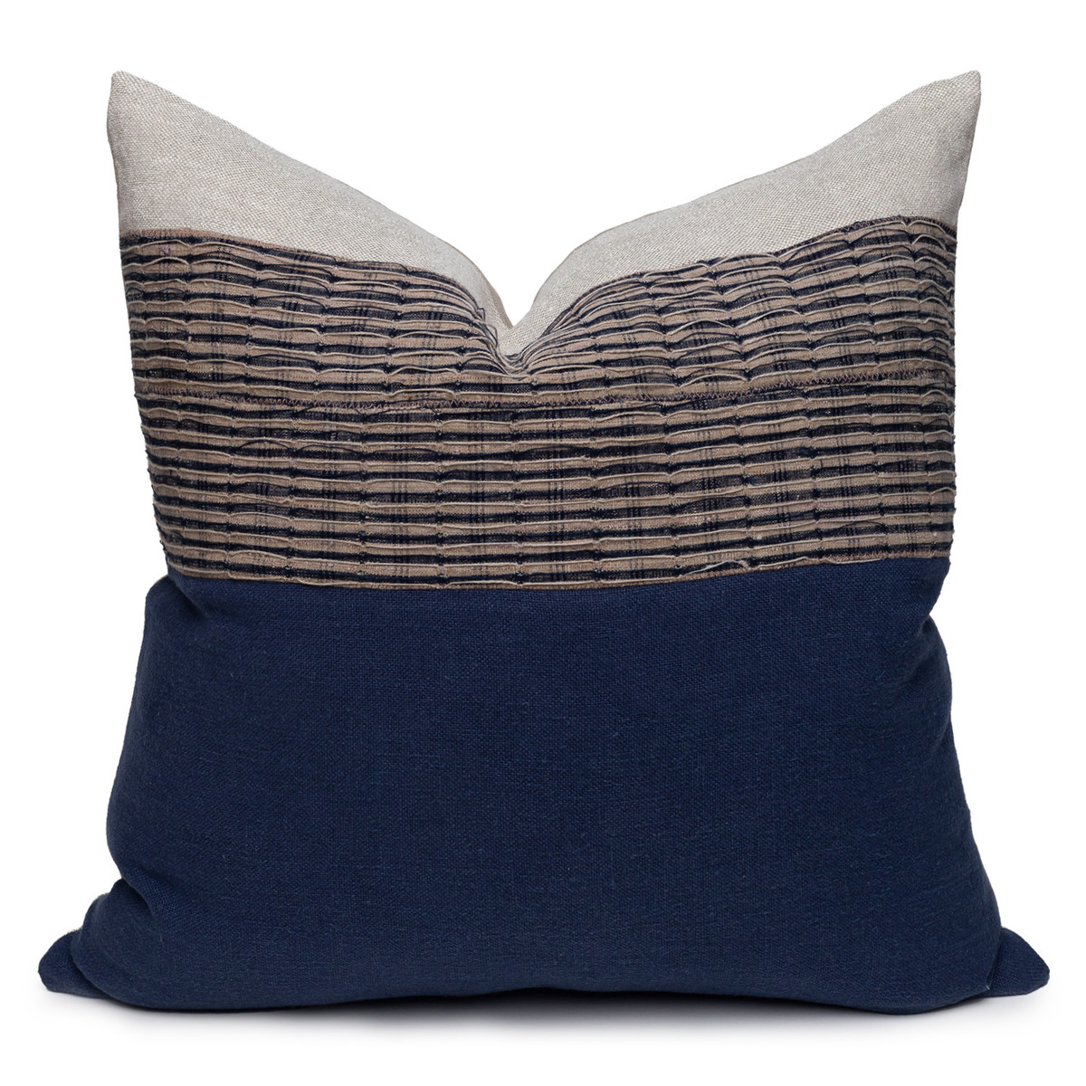 Nora Luxe Vintage Pillow with African Aso Oke Textiles and Linen in Natural & Navy-22- Front VIEW