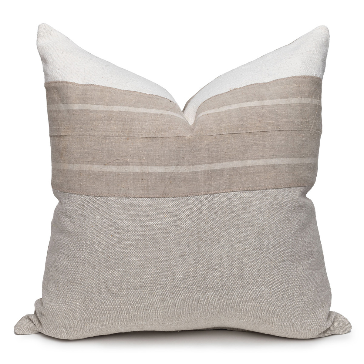 Mila Luxe Vintage Pillow with African Aso Oke Textiles, Linen in Natural & White Mud Cloth-22- Front VIEW