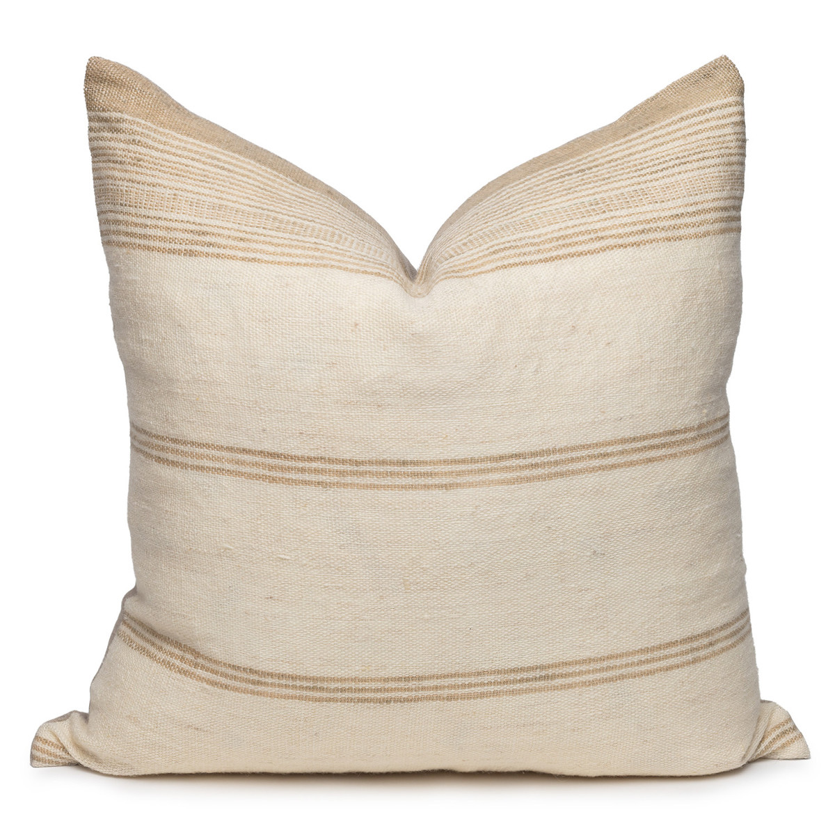 Trevor Handspun Indian Wool Ivory and Creme Pillow- 22- Front View