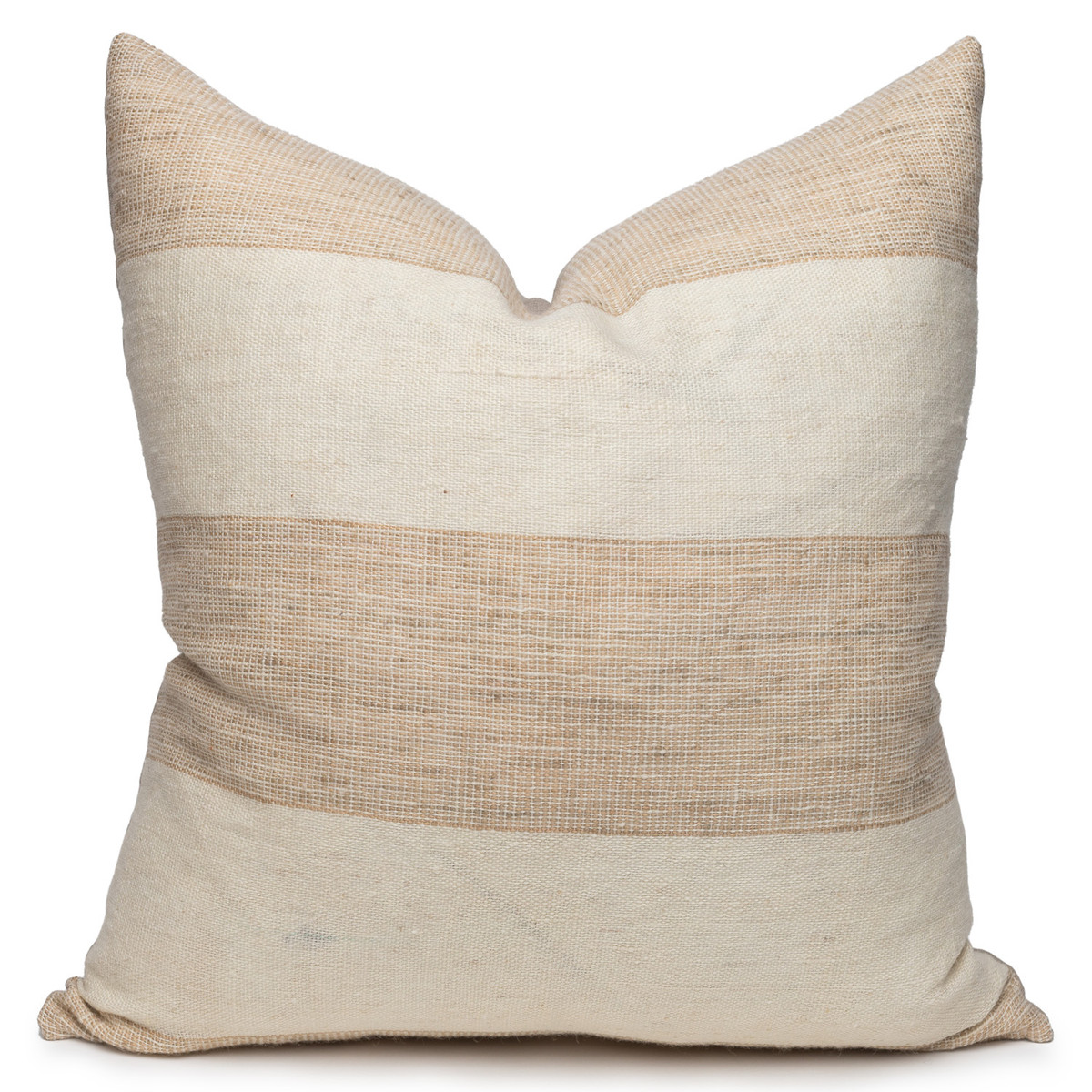 Rhea Indian Wool Ivory and Creme Stripe Pillow - 24- Front View