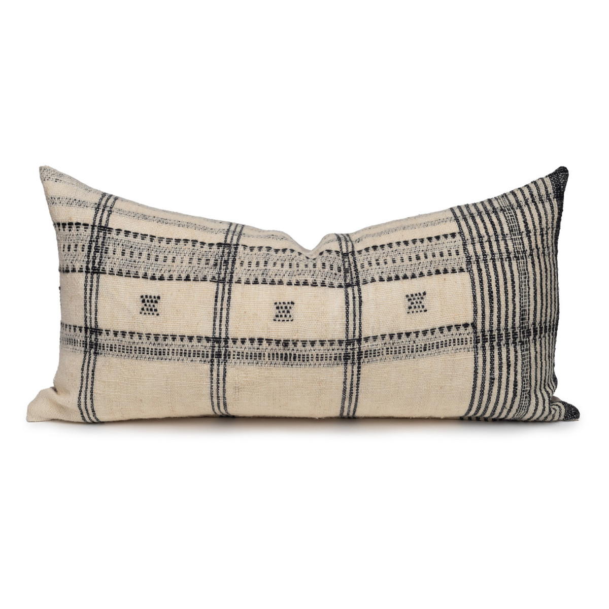 Rocco Lumbar Pillow in Black & Ivory, Hand Loomed Indian Wool-1427- Front View