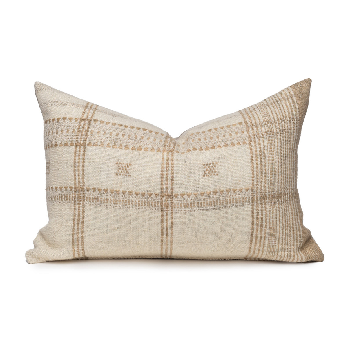Myra Lumbar Pillow in Creme & Ivory, Hand Loomed Indian Wool-1420- Front View