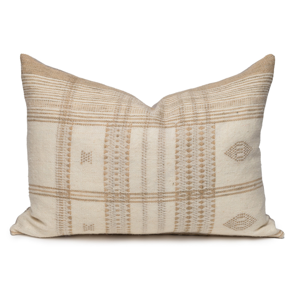 Park Handspun Indian Wool Ivory and Creme 24 inch Pillow - Front