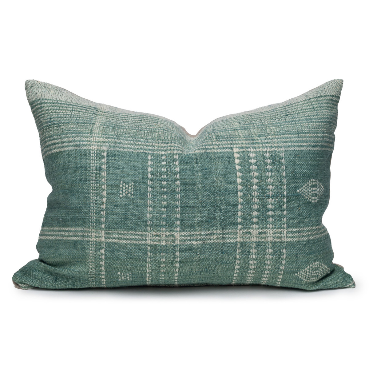 Park Handspun Indian Wool Ivory and Mint 24 inch Pillow - Front