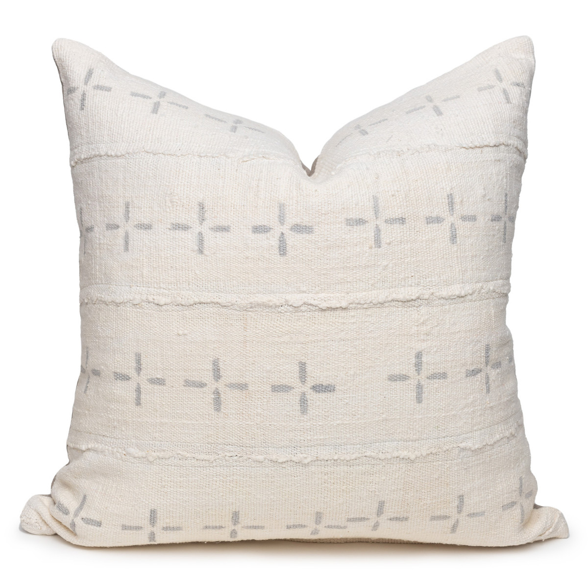 """Gray Star White and Gray Mud Cloth Pillow - 22""""- Front"""
