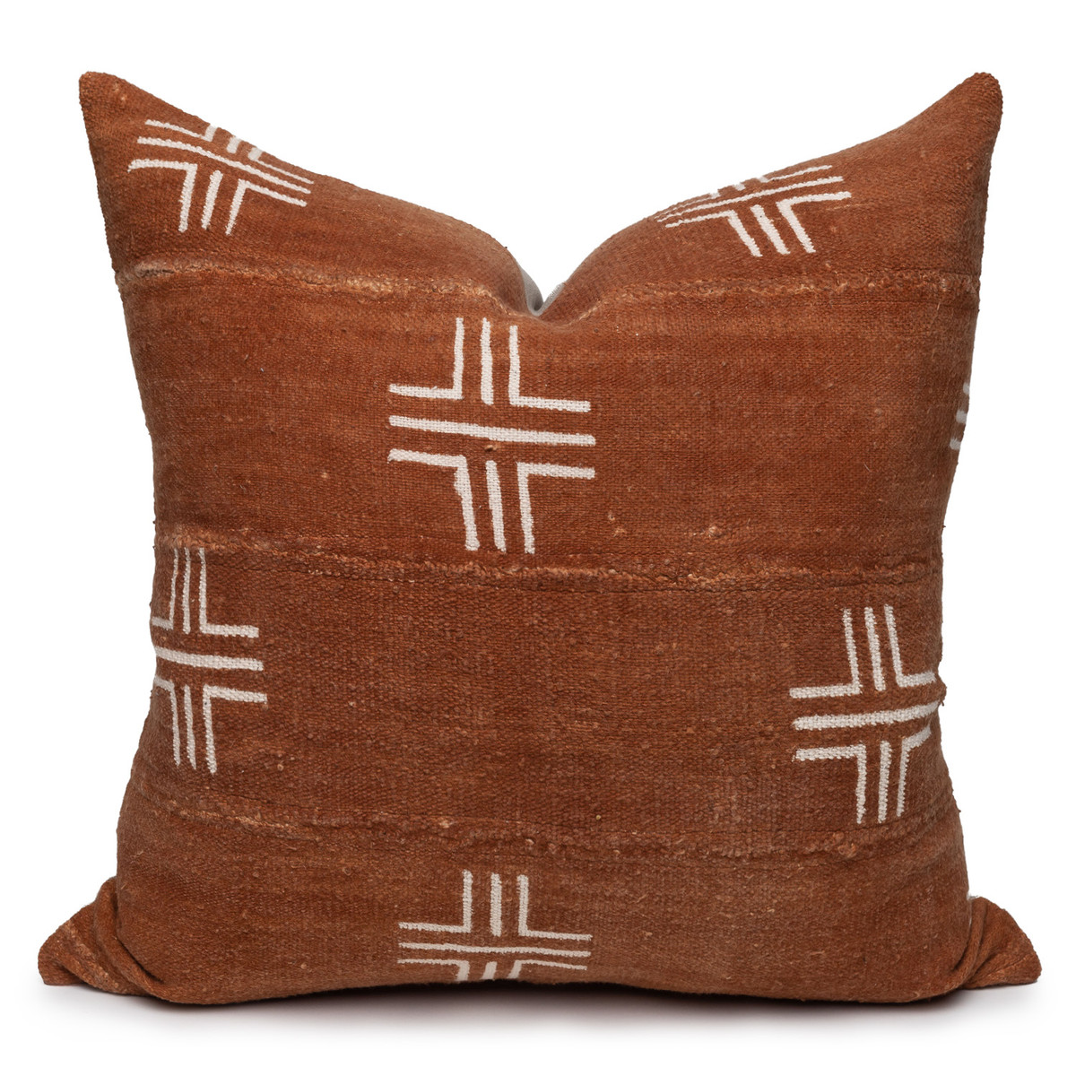 """Taos Pillow, Rust and Ivory Mud Cloth Pillow - 22""""- Front"""