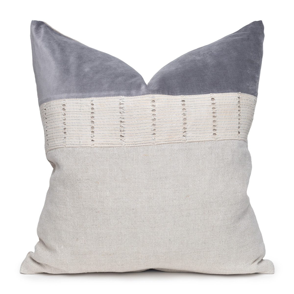 Angel Luxe Vintage Pillow with African Aso Oke Textiles and 100% Eco-friendly Topanga linen in Natural & Cotton Velvet- 22- Front View