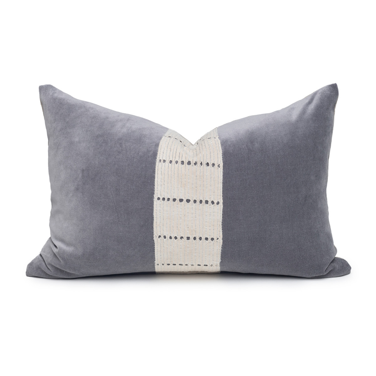 Angel Luxe Vintage Lumbar Pillow with African Aso Oke Textiles and 100% Eco-friendly Topanga linen in Natural & Cotton Velvet- 1420- Front View