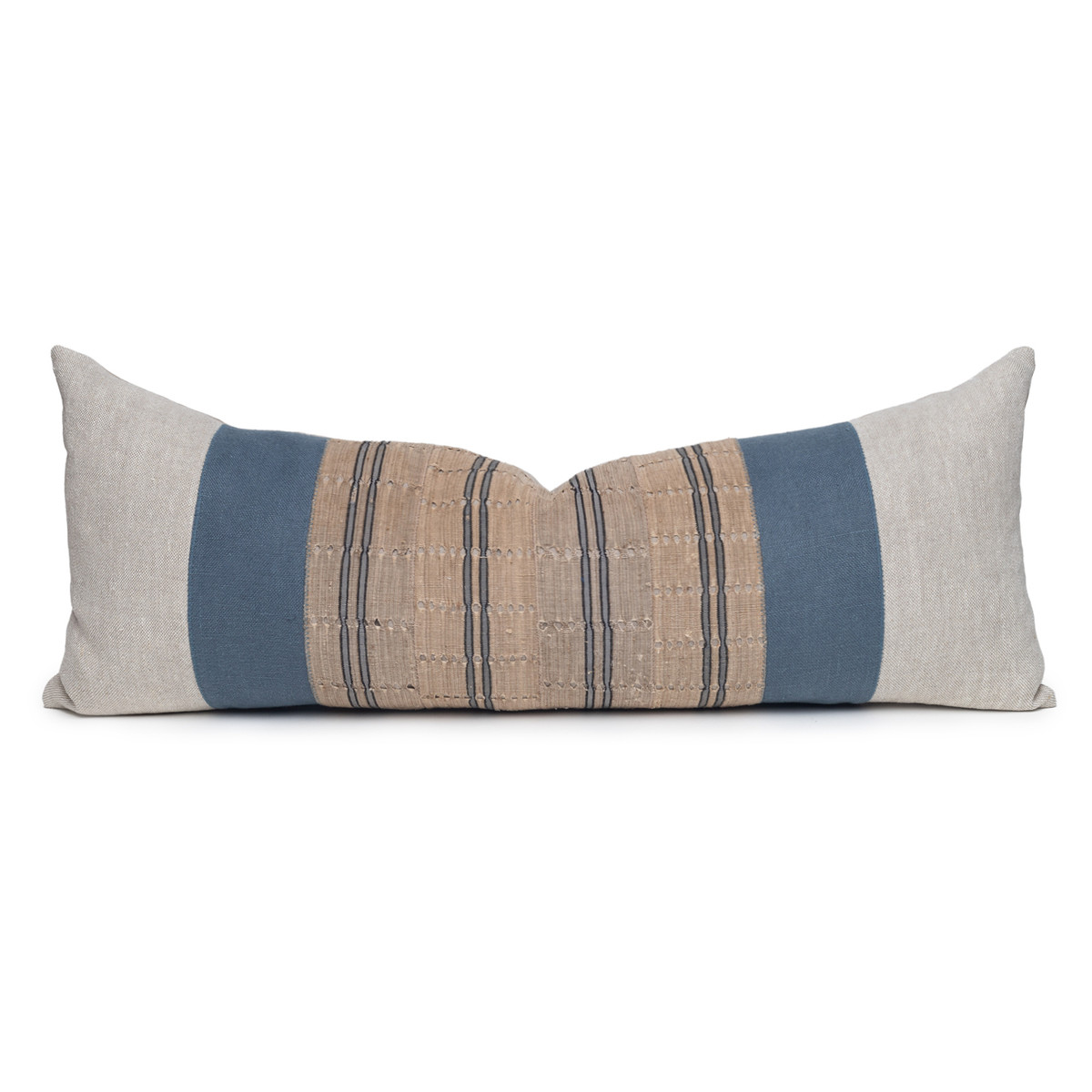 Bristol Blue Luxe Vintage Pillow with African Aso Oke Textiles and 100% Eco-friendly Topanga linen in Natural- 1436- Front View