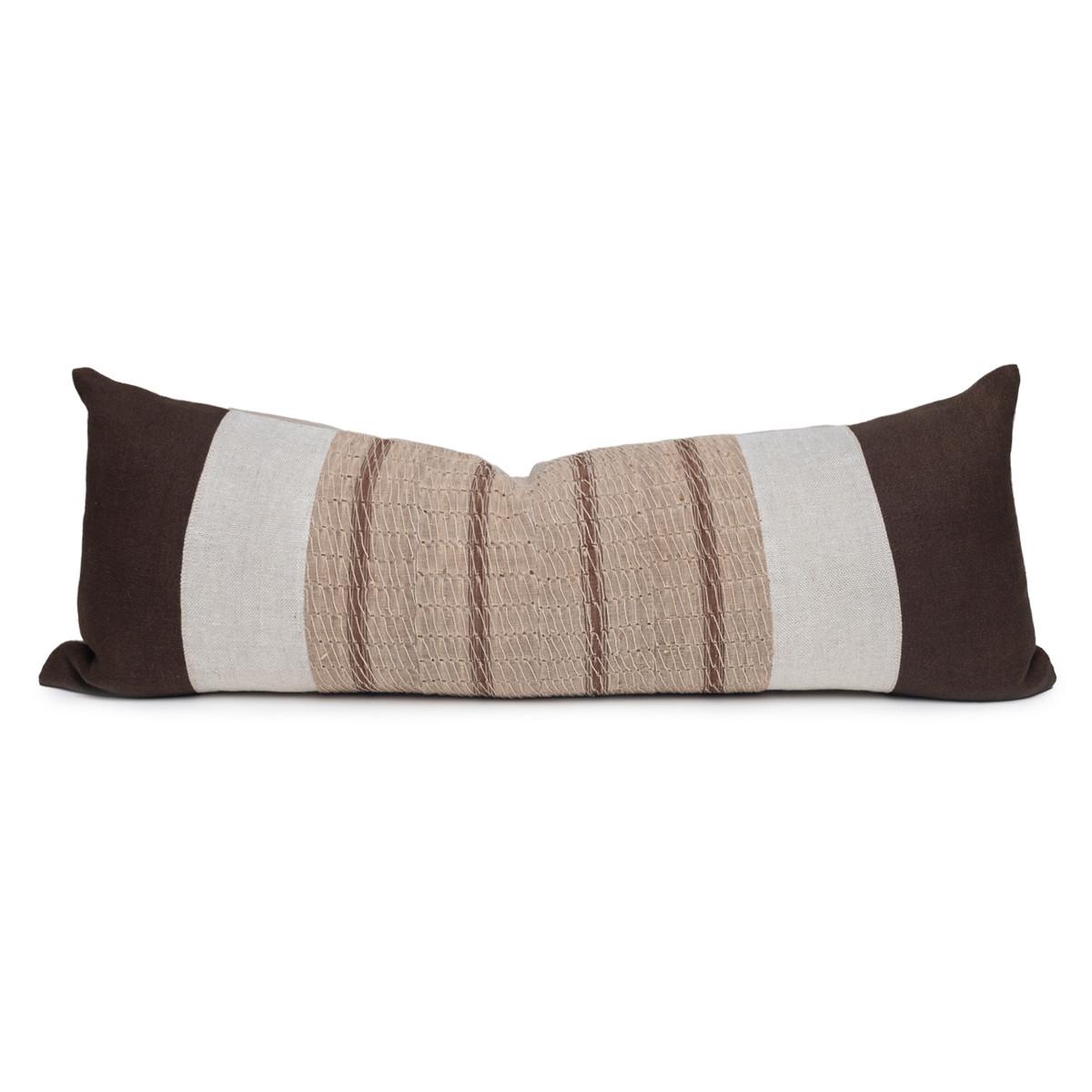 Ember Natural Linen and Aso Oke Lumbar Pillow - 14 x 36- Front View