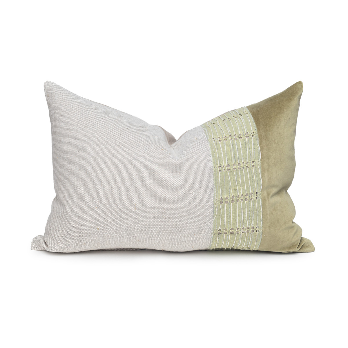 Harp Luxe Vintage Lumbar Pillow with African Aso Oke Textiles and 100% Eco-friendly Topanga linen in Natural & Cotton Velvet- 1420- Front View