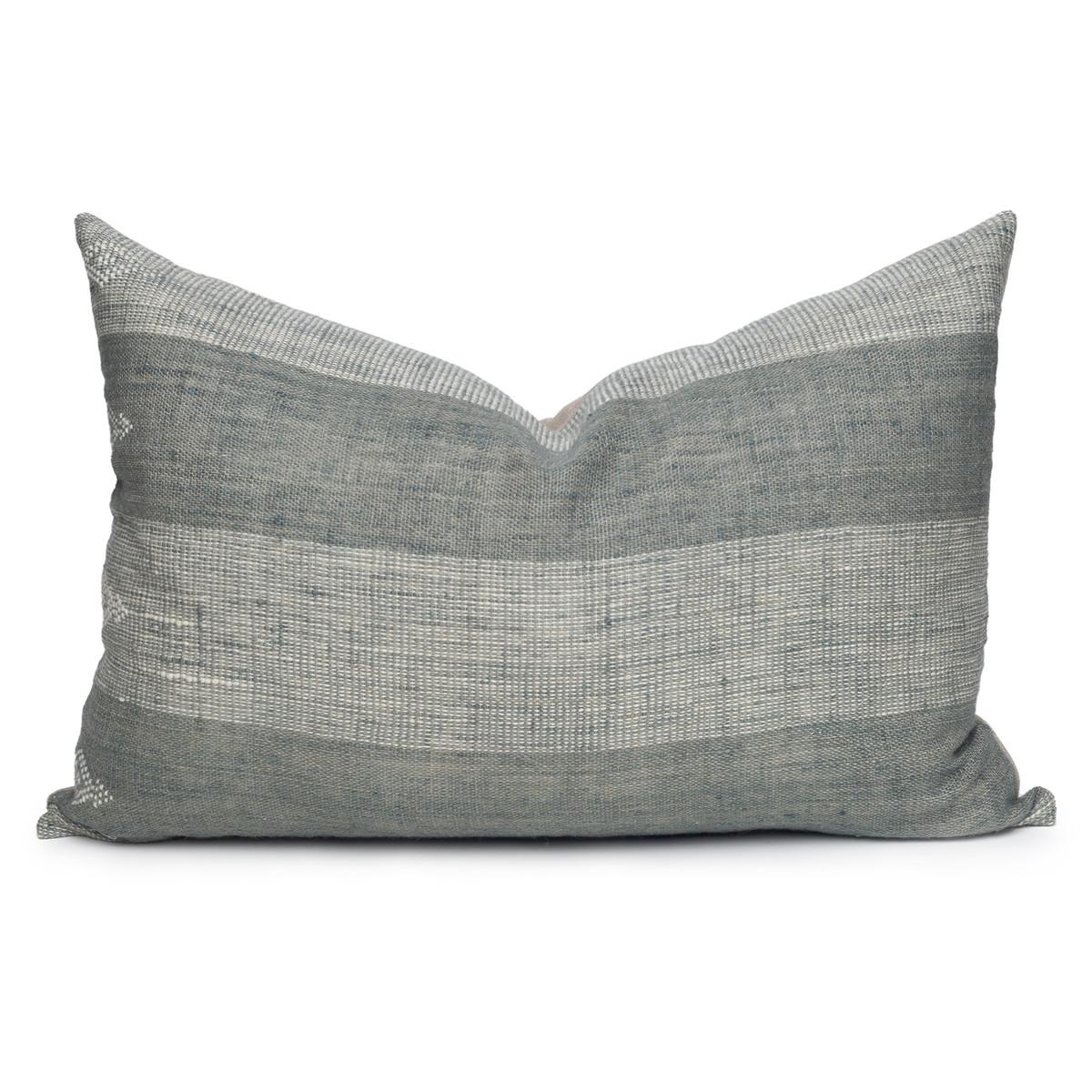 Joey Indian Wool Mint Stripe Lumbar Pillow - 1826- Front View