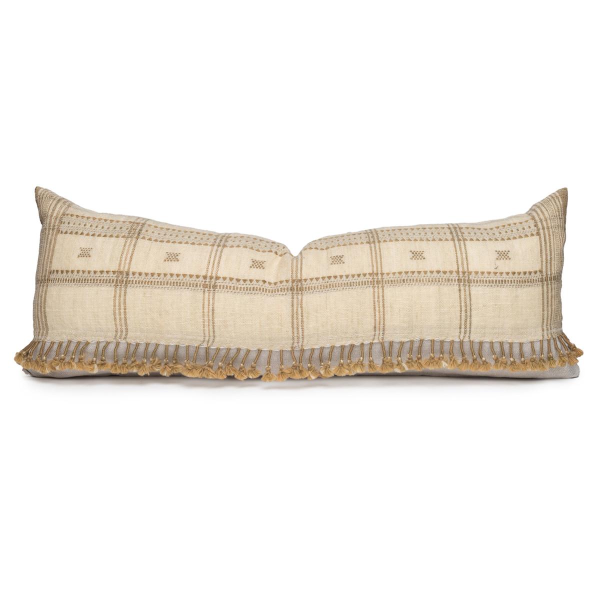 Julia Indian Sage Wool Tassel Lumbar Pillow - 1436- Front View