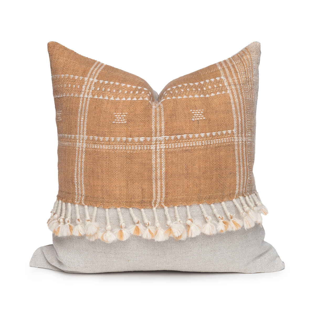 Morgan Handspun Indian Wool Copper and Ivory Stripe Pillow- 18 x 18 - Front