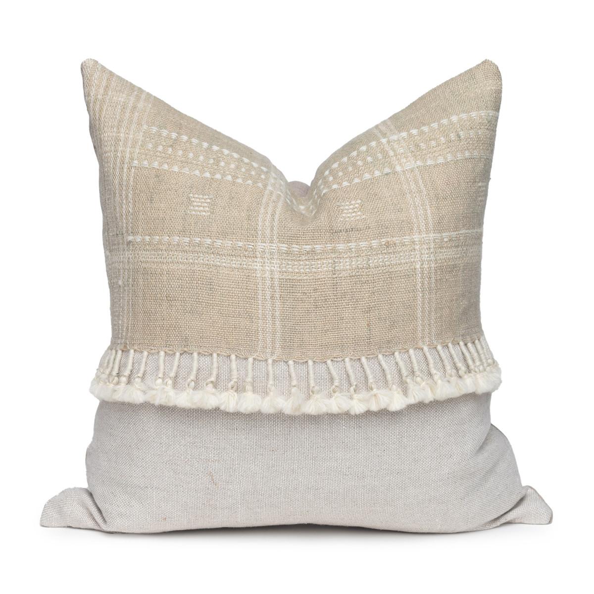 Morgan Handspun Indian Wool Sage Pillow- 20 x 20 - Front