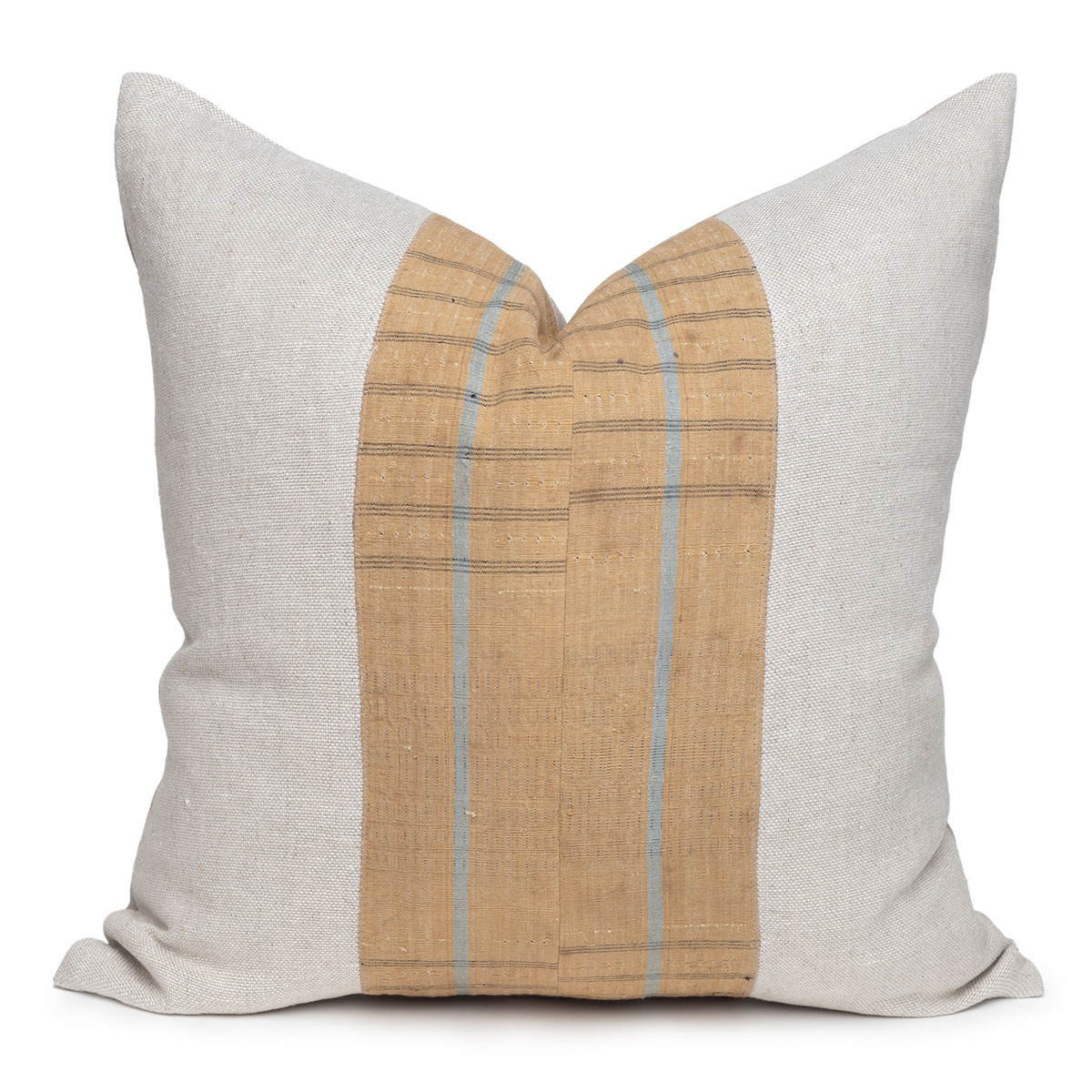 Owen Natural Linen and Aso Oke Pillow - 22- Front View