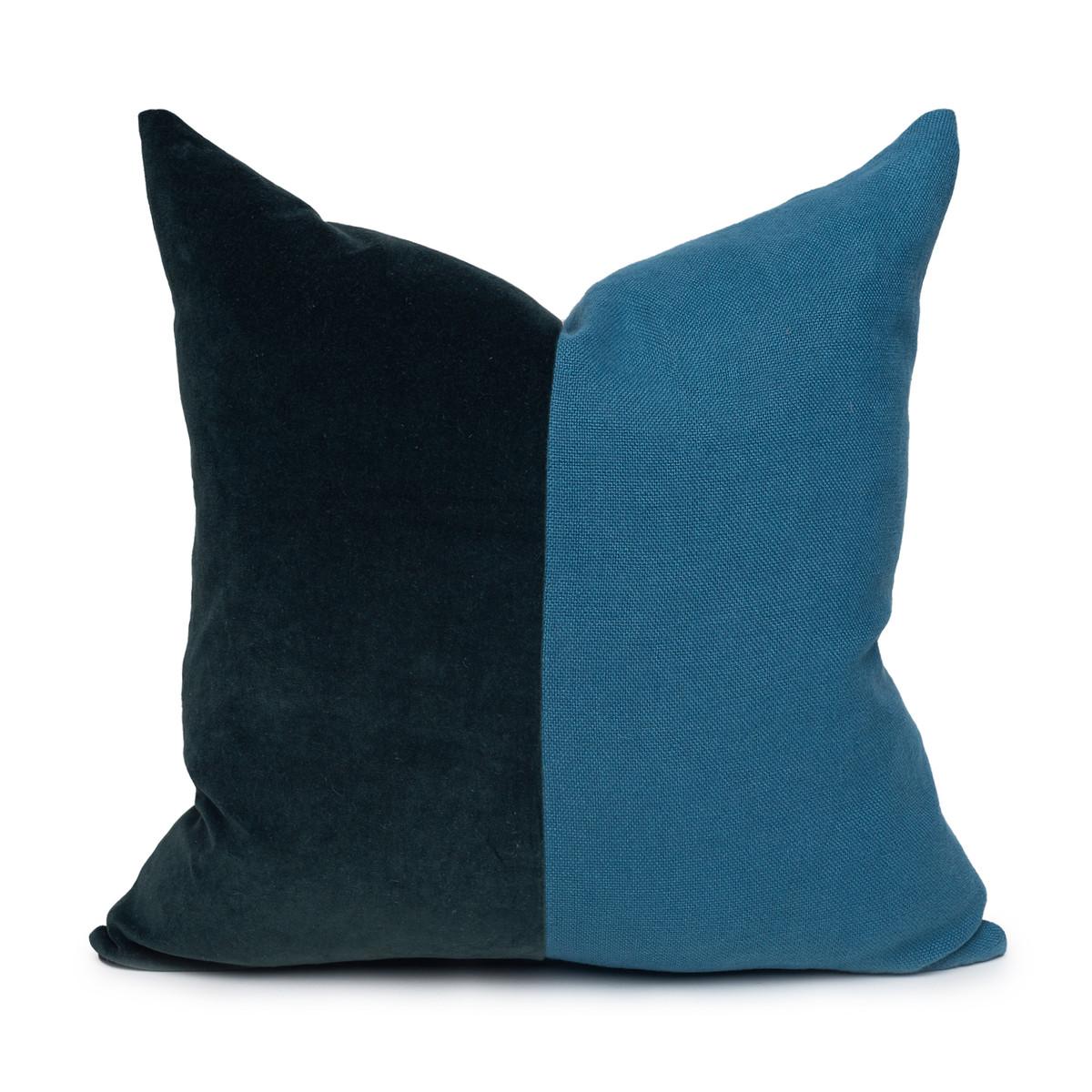 Saint Tourmaline Velvet pillow & Delphi linen- 20 x 20 - front