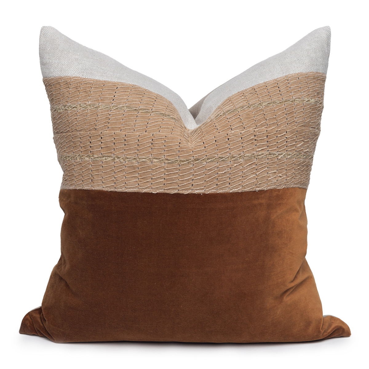 Scarlet Luxe Vintage Pillow with African Aso Oke Textiles and 100% Eco-friendly Topanga linen in Natural & Cotton Velvet- 22- Front View