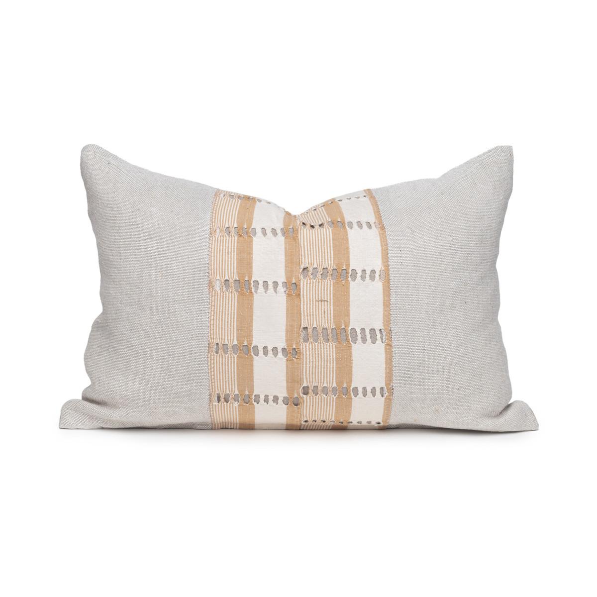 Tasi Natural Linen and Aso Oke Lumbar Pillow - 1420- Front View