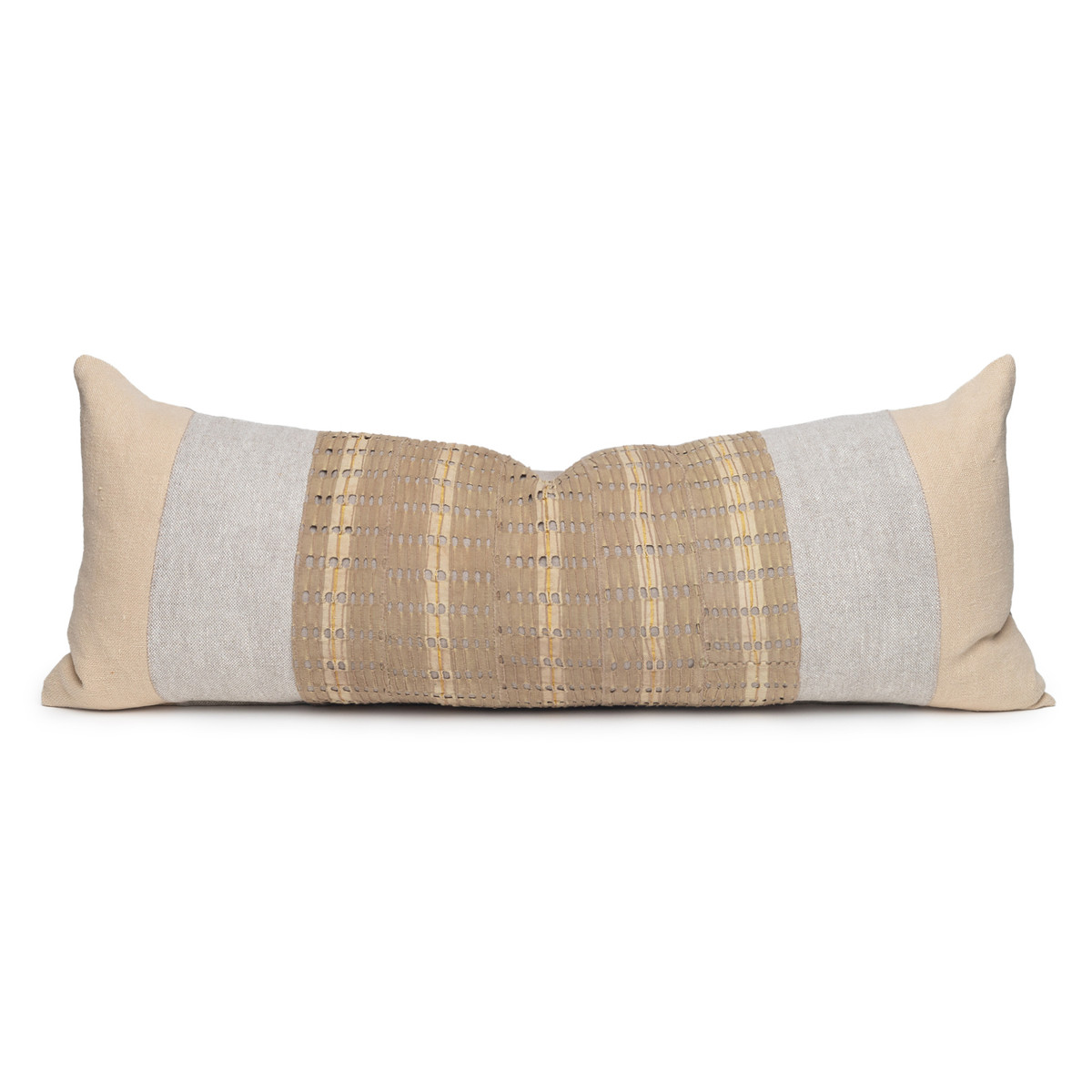 Tate Luxe Vintage Lumbar Pillow with African Aso Oke Textiles-1436- Front View