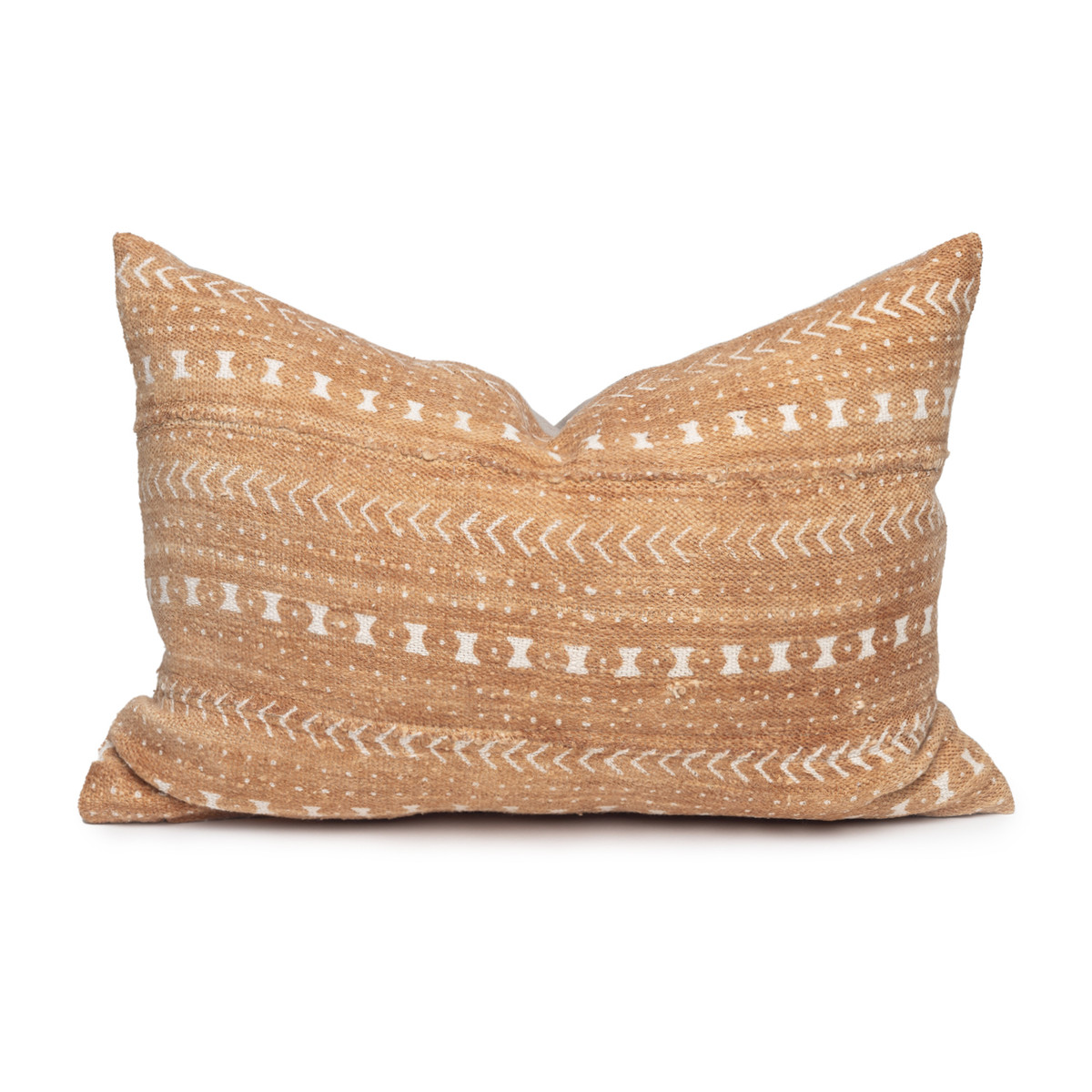 Trainer Lumbar Pillow in Printed cotton mud cloth- 16 x 22 - Front