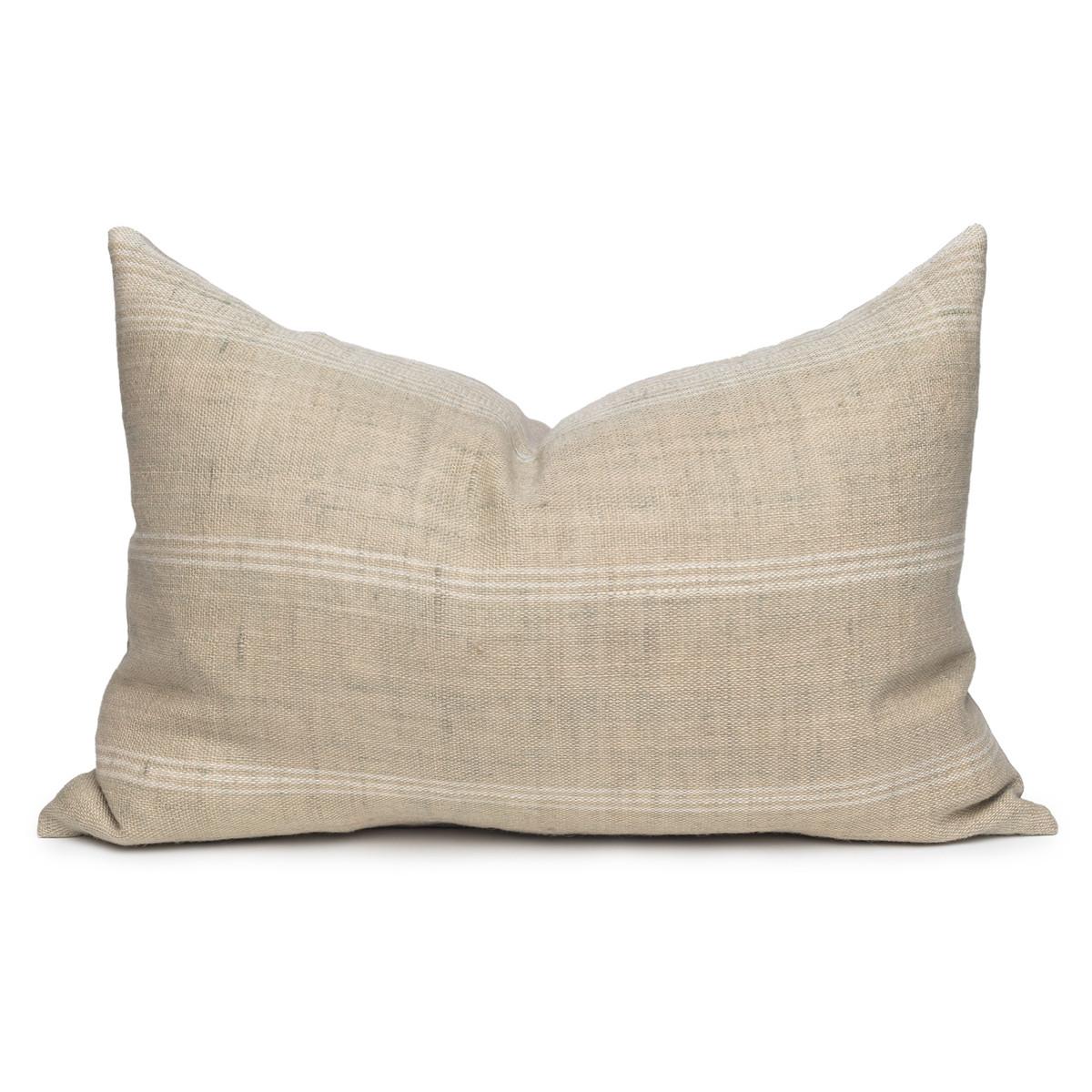 Trevor Handspun Indian Wool Sage Lumbar Pillow- 18 x 26- Front View