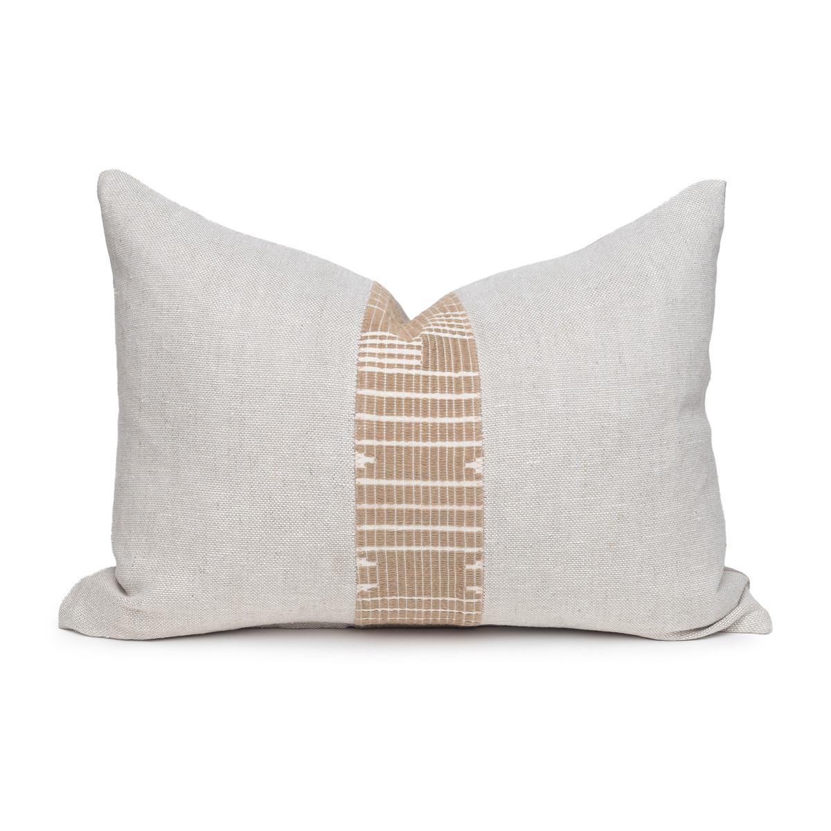 Triton Natural Linen and Aso Oke Lumbar Pillow - 1622- Front View