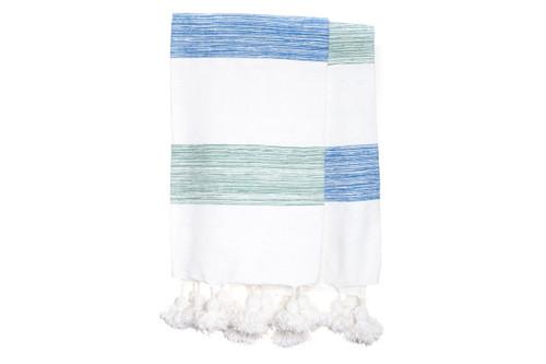 Blue White Stripe Moroccan Pom Pom Blanket