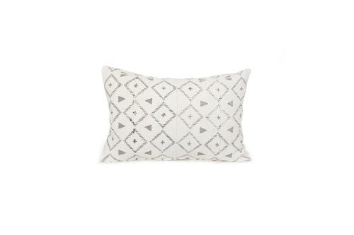 White and Gray Mud Cloth Pillow - Front