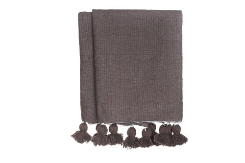 Dark Taupe Cotton Moroccan Pom Pom Blanket