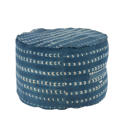 One of A Kind Vintage Indigo Round Mud Cloth Pouf - Front
