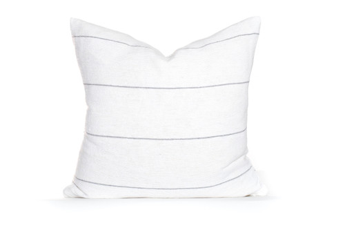 White and Gray Stripe Moroccan Pillow