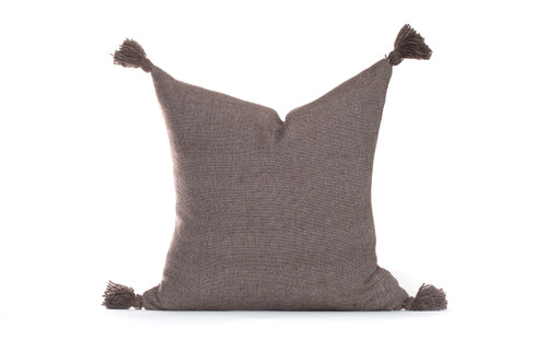 Frenchie Tassel Moroccan Pillow Dark Taupe