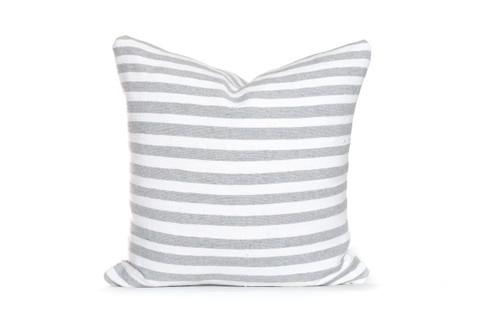 Gray and White Cotton Stripe Moroccan Pillow