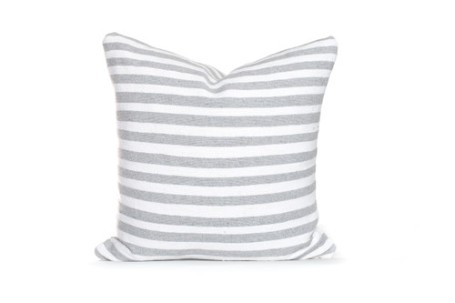 Gray and White Cotton Stripe Moroccan Pillow