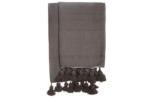 Dark Taupe Cotton Moroccan Pom Pom Throw
