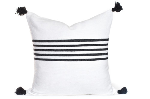 Black and White Moroccan Pom Pom Pillow
