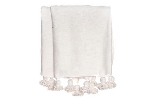 Ivory Cotton Moroccan Pom Pom Blanket