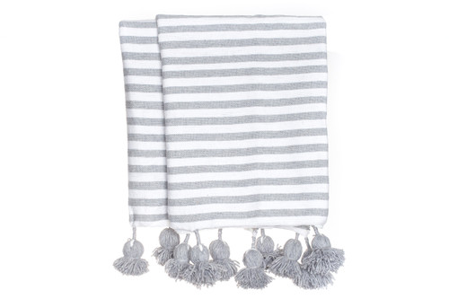 Gray and White Cabana Cotton Stripe Moroccan Pom Pom Throw Blanket
