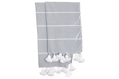 Beach House Gray and White Cotton Moroccan Pom Pom Throw