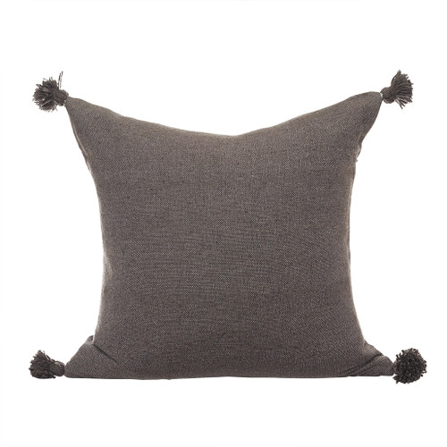 Dark Taupe Pom Pom Pillow